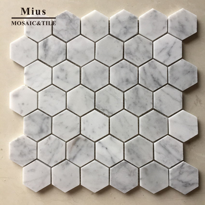 Hexagonal White Carrara Tiles And Marbles In Mosaic For Bathroom