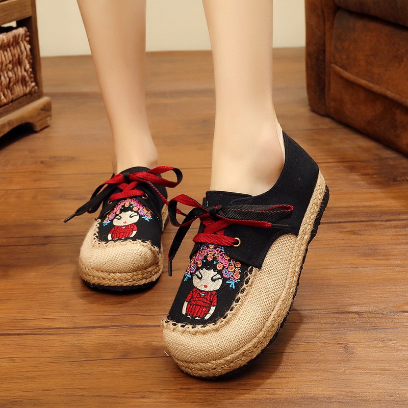 SONDR retro embroidery informal ladies sneakers cute cartoon animation lace-up zapatos de mujer black pink beige stitching sepatu wanita Ladies's Flats, Low-cost Ladies's Flats, SONDR retro embroidery informal ladies...