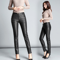 Spring and autumn new Korean leather pants ladies Slim pu wild personality fashion slim casual leather trousers Black S 5XL