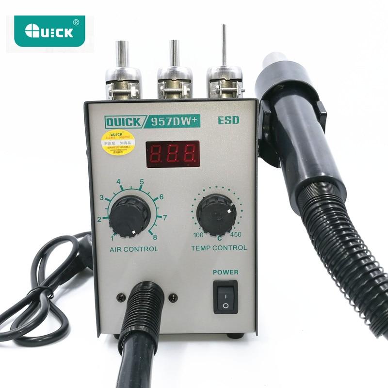 220 ولت ارتقاء QUICK 957DW + نمایشگر LED قابل تنظیم با تفنگ بخاری با هوای گرم با ایستگاه کاری مجدد باد 400W SMD با 3 نازل هوا