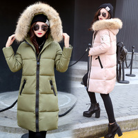 Korean Winter New Big Long Loose Hooded Fur Feather Padded Coat Large Cotton Student