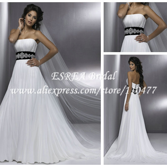 Strapless white beach wedding dresses