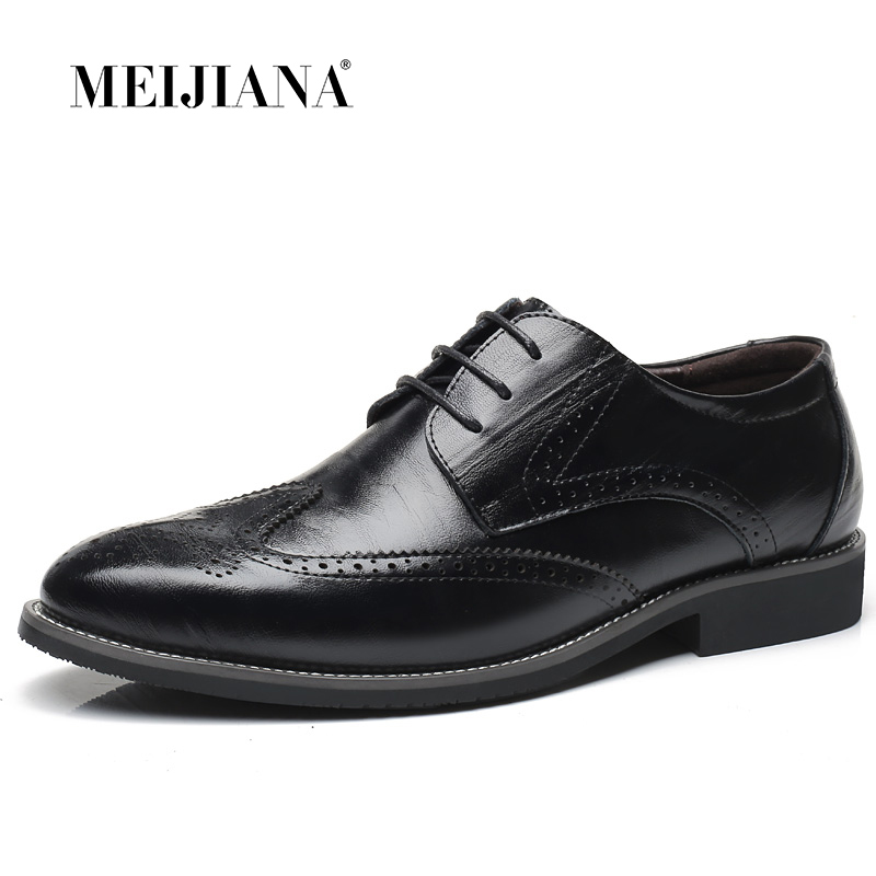 Gentleman Oxford Shoes Men's Dress Business Party Shoes Casual High Quality Brogue Lace Up Summer Oxford Male Plus Size 38-47