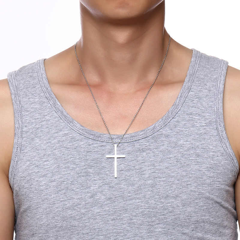 Meaeguet Immanuel Lover krzyż wisiorek jezus naszyjniki dla kobiet mężczyzn para kolor srebrny biżuteria religijna ze stali nierdzewnej