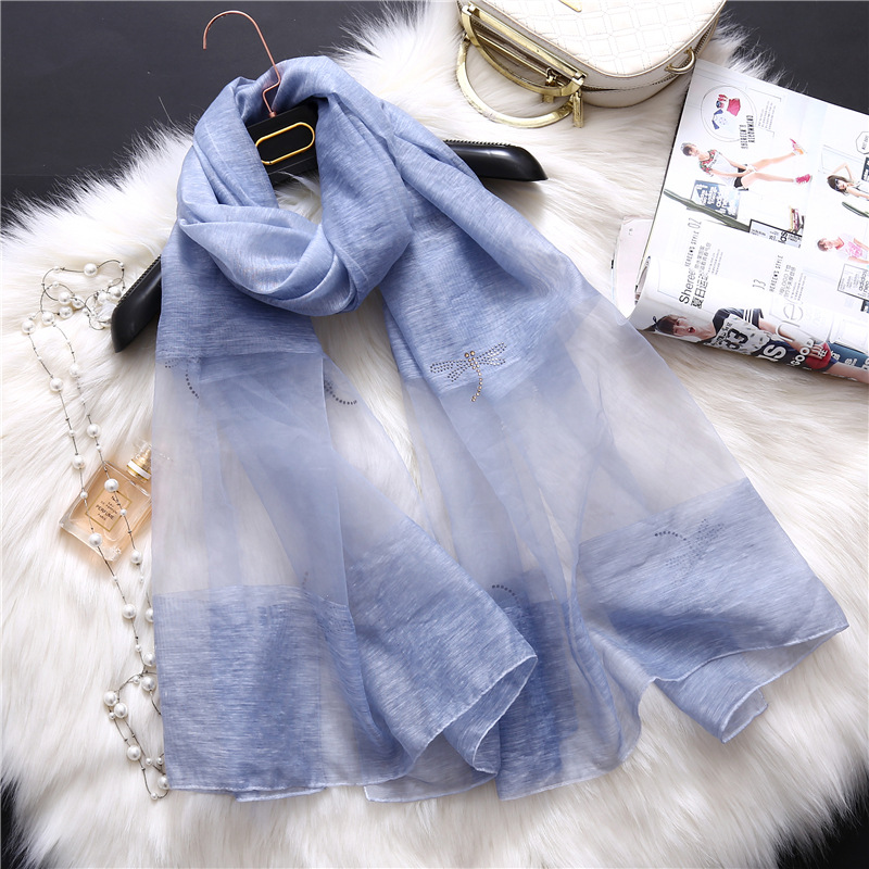 design brand 2018 new women scarf fashion summer Masonry Dragonfly wool silk scarves lady solid shawls and wraps pashmina
