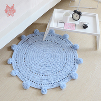 Pink grey blue white solid knitted fake cashmere round carpets for home living room children's rugs balls tapis chamb SP4332