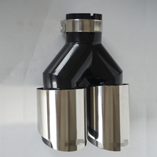 1pc Left 63mm Car Dual Exhaust Pipe Tail Muffler Tip Plating black Stainless Steel Glossy Accessories