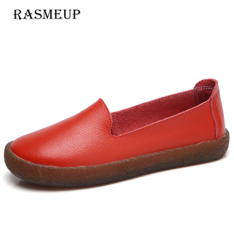 RAMEUP Genuine Leather Women Flat Shoes 2018 New Spring Slip-on Flats Loafers Casual Comfortable Woman Soft Shoes Plus Size 10 2017 new women flower flats slip on cotton fabric casual shoes comfortable round toe student flat shoes woman plus size 2812w page 2