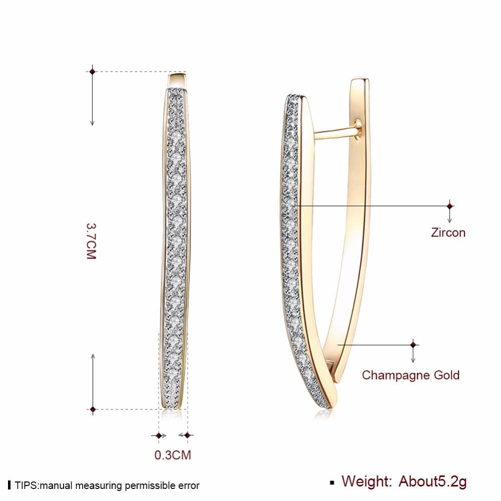 Visisap V Shape Shining Cubic Zirconia Hoop Øreringe For Kvinder - Mode smykker - Foto 3