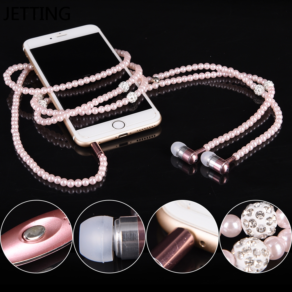 JETTING Pink Rhinestone Jewelry Pearl Necklace Earphones With Microphone Earbuds For Iphone Xiaomi Brithday Gift fone de ouvido
