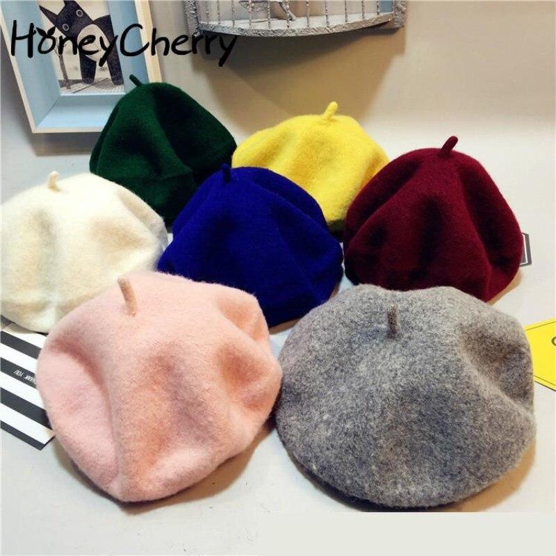 Осенняя детская шапочка в Южно-Корейском стиле, беретик в английском стиле, бутон из чистой шерсти, корейский стиль, реквизит для фотосъемки новорожденных