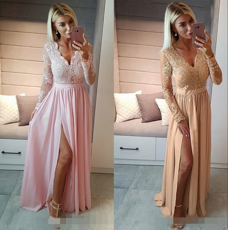 See Sheer Long Sleeves V-Neck Floor Length Lace Applique Bridesmaid Dresses Hot Chiffon Court Train Bridesmaid Gown