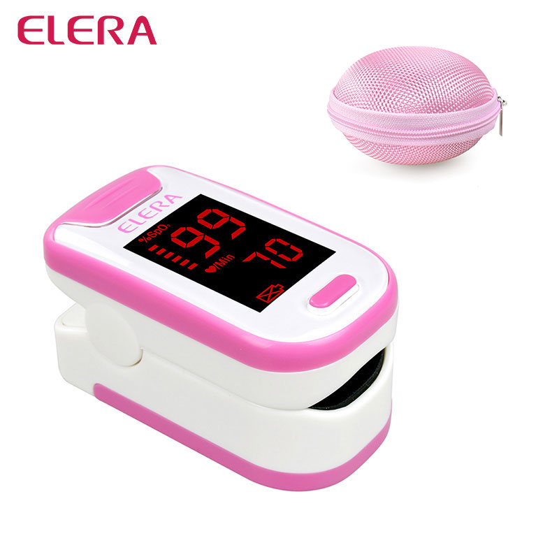 ELERA Portable Finger Pulse Oximeter With Round Case Oximetro de Pulso digital SPO2 PR Pulsioximetro a Finger