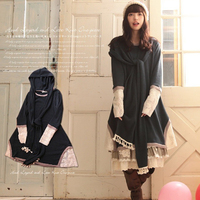 Japanese Style Mori Lolita Girl Pure Color Long Sleeved One Piece Dress With A Hat