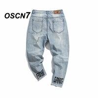 OSCN7 Hohe Qualität Buchstabedruckes Denim Neunte Hosen Männer Lose knöchellangen Hosen Jeans Männer Mode Lässige Streetwear Jeans männer