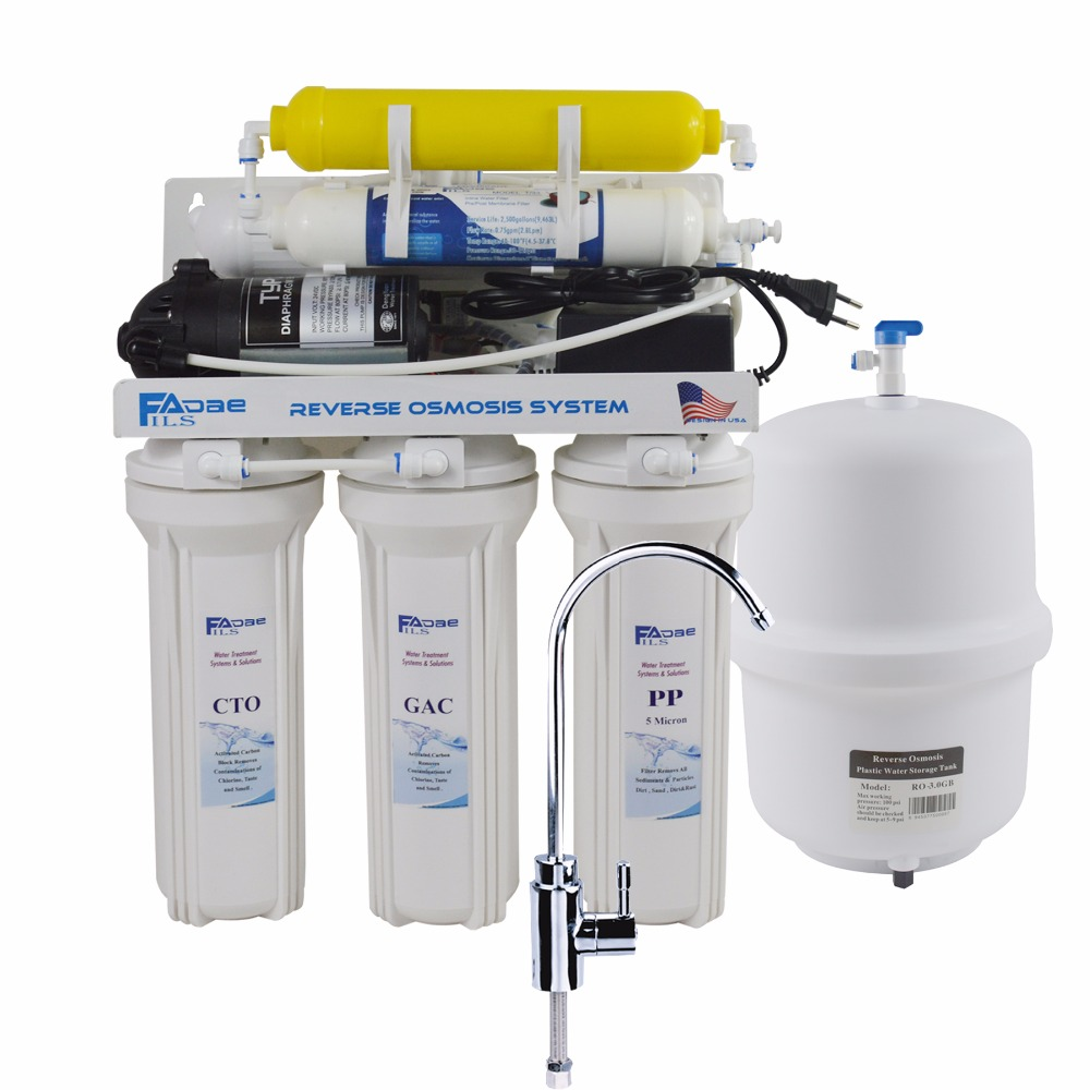 Super 6-Stage Reverse Osmosis Drinking Water Filter System with Remineralization filter-75 GPD /100-240V/Europe two-pin plug 300 gpd water filter ro booster pump for reverse osmosis drinking water