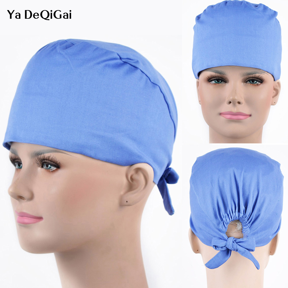 Hospital Surgical Caps Medical Workwear Hap Solid Color 100% Cotton Scrub Sets Cap Doctors Nurses Anesthetist Caps Accesssories