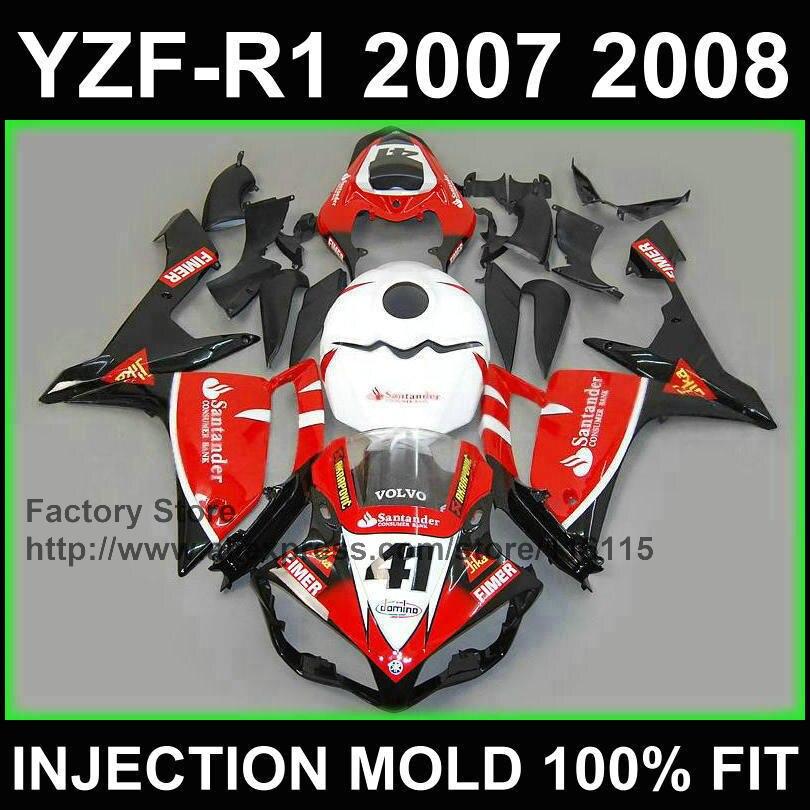 Motocicleta feita sob encomenda injeção estrada carenagens kits para YAMAHA 2007 2008 YZF R1 YZFR1 07 08 red santander 41 carenagem peças + tampa do tanque