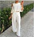 Moda Verão Conjunto Calça Mulheres Terno Ternos Two-Piece Conjuntos de Calças de Algodão Elegante Agasalho Feminino