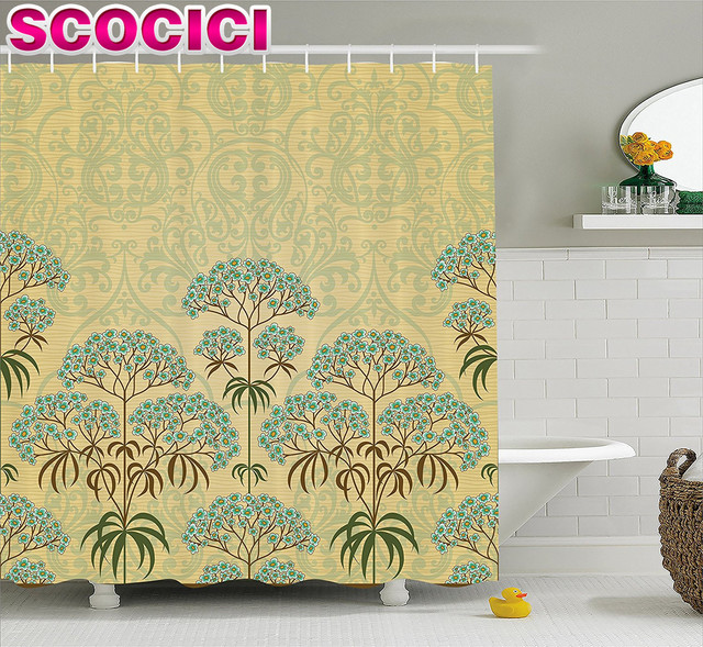 Traditional House Decor Shower Curtain Victorian Floral With Double  Exposure Royal Background Home Decor Fabric Bathroom