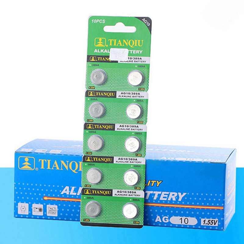 10 шт/карта AG10 для игрушечные часы удаленные 189 LR54 монетки клетки щелочные Батарея 1,55 V SR54 389 189 LR1130 389 SR1130 батарейки