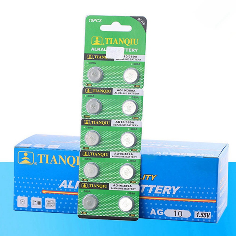 10pcs/card AG10 For Watch Toys Remote 189 LR54 Cell Coin Alkaline Battery 1.55V SR54 389 189 LR1130 389 SR1130 Button Batteries