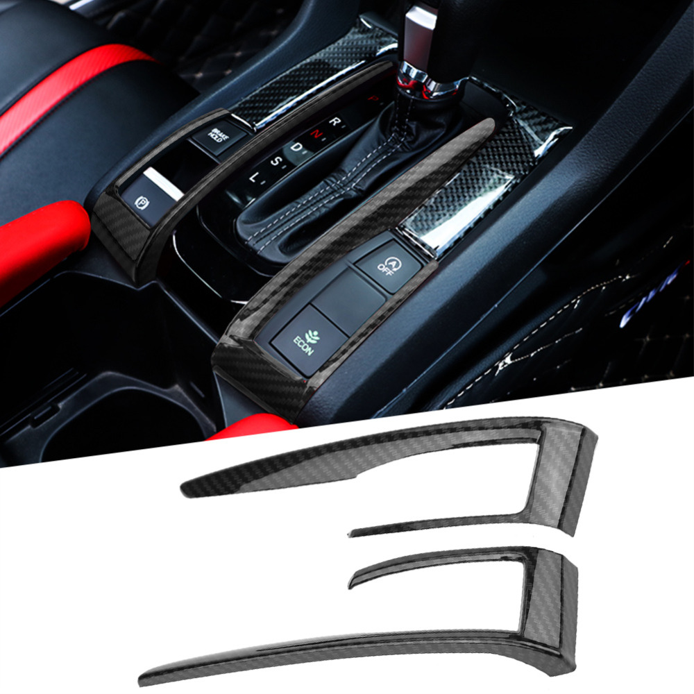 2PCS ABS Interior Gear Shift Frame Cover Trim Red For Honda Civic 10th 2016 2017