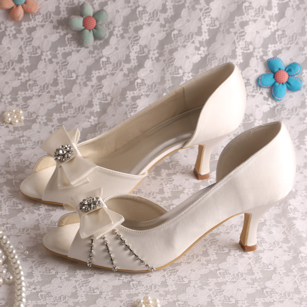 Wedopus Slip On Cream Bridal Shoes Wedding Medium Heel 6 5cm Open Toe Free Shipping In Women S Pumps From Aliexpress Alibaba Group