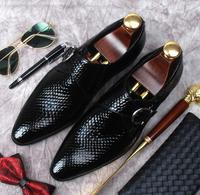 New England snake pattern pointed shoes fashion men's business dress shoes leather paint leather buckle wedding shoes