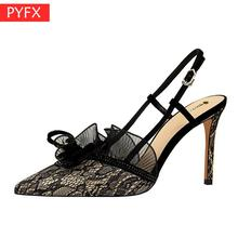 Summer new European American fashion shoes sexy banquet slim with mesh face hollow Women's super high heel sandals 34-43 size qzyerai summer 2018 european style sexy hollow metal heel high heel shining sequins a word band sandals gold size 34 39