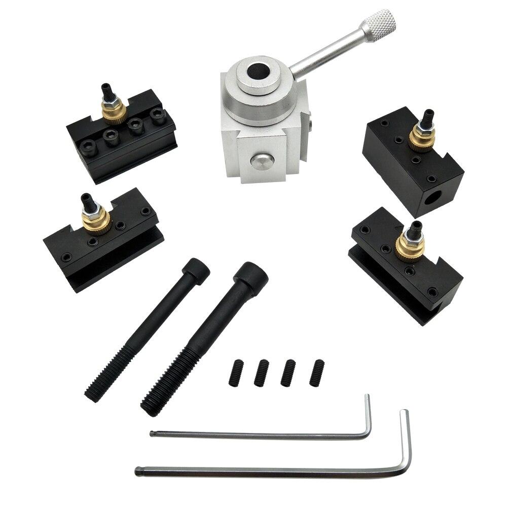CNC Lathe Tools Quick Change Tool Lathe Tool Holder Post Cutter Holder Screw Kit Set Boring Bar Turning Facing Holder Wrench