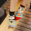 New Hot-venda mulheres meias Primavera Verão e Outono moda dos desenhos animados 3D meias das mulheres e senhora bonito superman algodão meias curtas