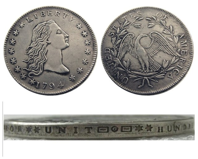 United States Coins 1794 Flowing Hair Brass Silver Plated Dollar Letter  Edge Copy Coin d58162dee03c6
