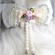 Новинка; Лидер продаж модный дизайн с жемчугом и бантом собака щенок воротники, ожерелье хорошее поступление красивых животных маленькая собака щенок ошейники для собак