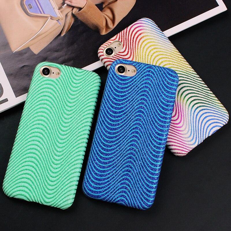 i7 7 Plus Colorful Wave Leather Case For iPhone 7 Cover Glitter Bling Back Cover Phone Case For iPhone 7 7 Plus Fundas Case capa