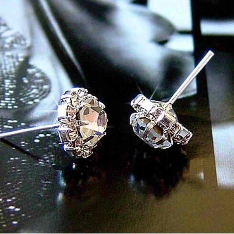 Pendientes de circonita de perlas de color de plata de moda 2019 para mujeres flores de cristal azul para niñas de regalo