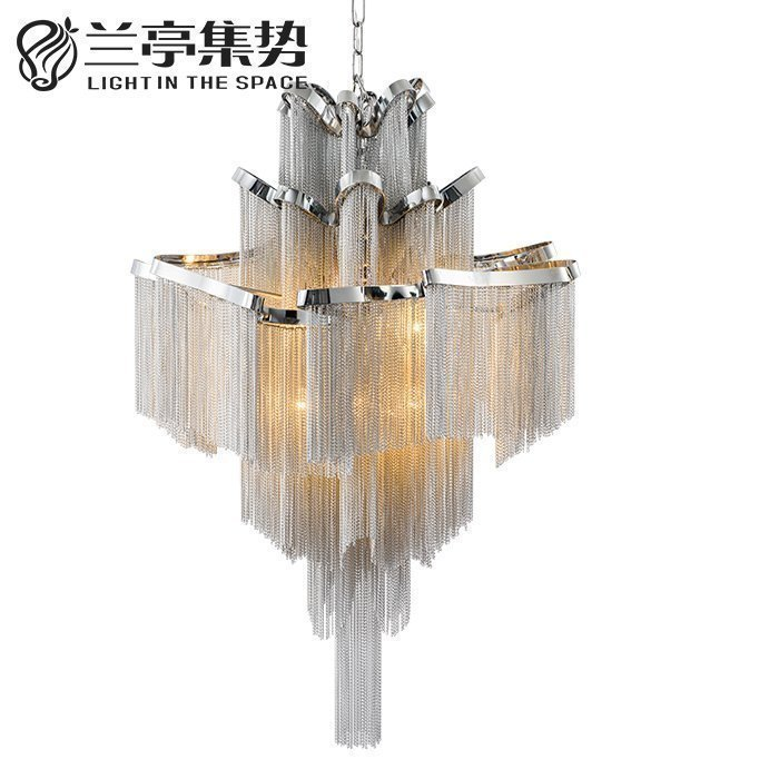 Modern Italian Design Aluminum Chain Duplex Apartment Pendant Light Gorgeous Project Hotel Lighting Fixture