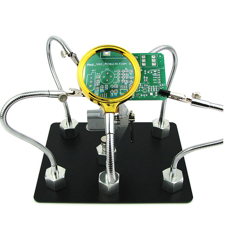 Big Size Helping Hands Soldering Station PCB Fixture With Universal Metal Base 4 Flexible Arms Circuit Board PCB Holder JIG