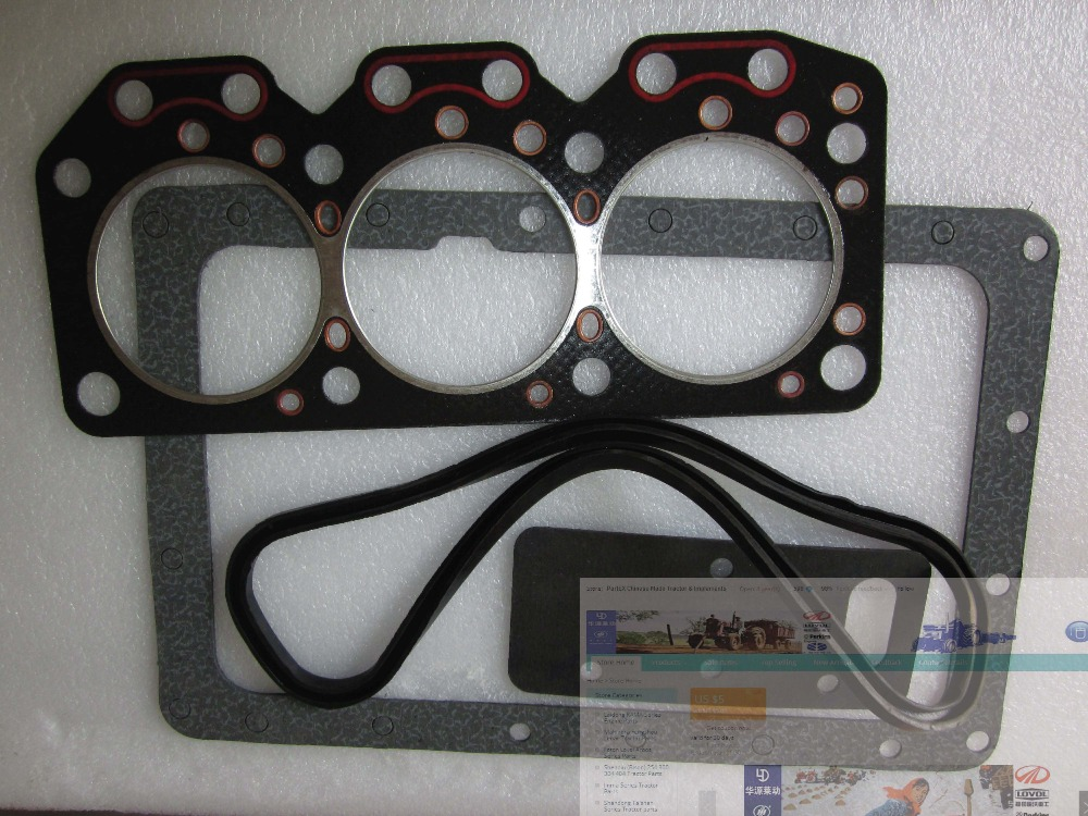 Laidong KM385BT the gaskets kit including head gasket,oil sum gasket and valve cover rubber seal laidong km4l23bt for tractor like luzhong series set of piston groups with gaskets kit including the cylinder head gasket