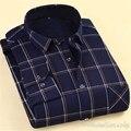 Мужчины Бархат Выстроились Плед Теплый Camisa Социальной Masculina Большой Размер С Длинным Рукавом Slim Fit Бизнес Мужская облегающие Кардиган 4XL