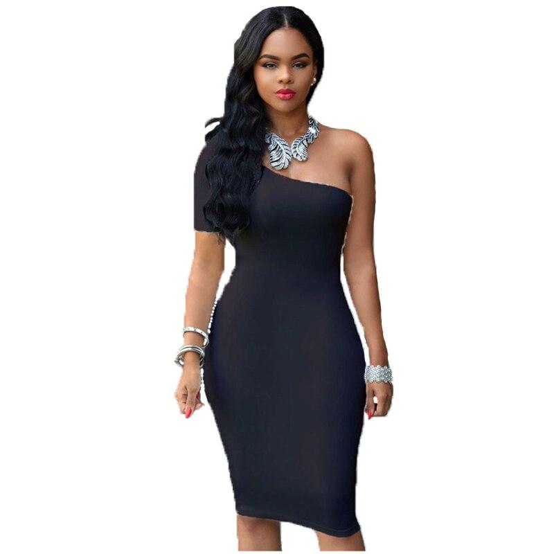 Night Club Summer Women Dress Sexy Elegant Sheath Short Knee-Length Off the Shoulder Natural Asymmetrical Solid New 2018