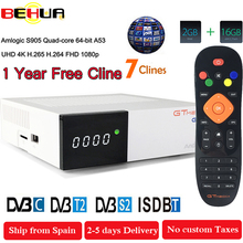 Freesat GTC decoder DVB-S2 DVB-C DVB-T2 Amlogic S905D android 6.0 TV BOX 2GB 16GB +1 Year Cline Satellite TV Receiver set tv box