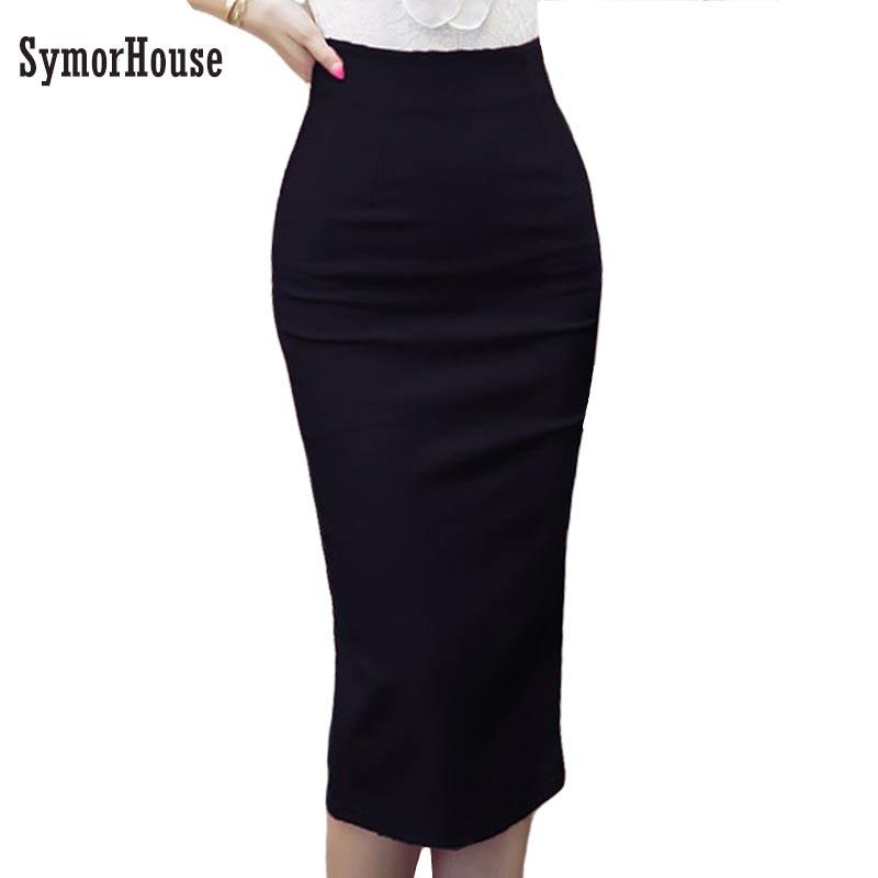 e4d8e6d4c113eb High Waist Pencil Skirts Plus Size Tight Bodycon Fashion Women Midi Skirt  Red Black Slit Women s