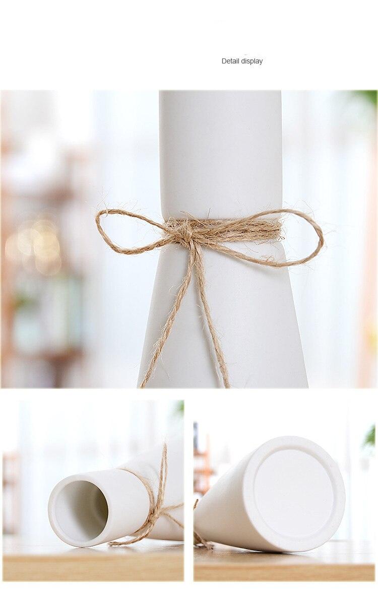 Clássico branco mesa vaso de cerâmica simples