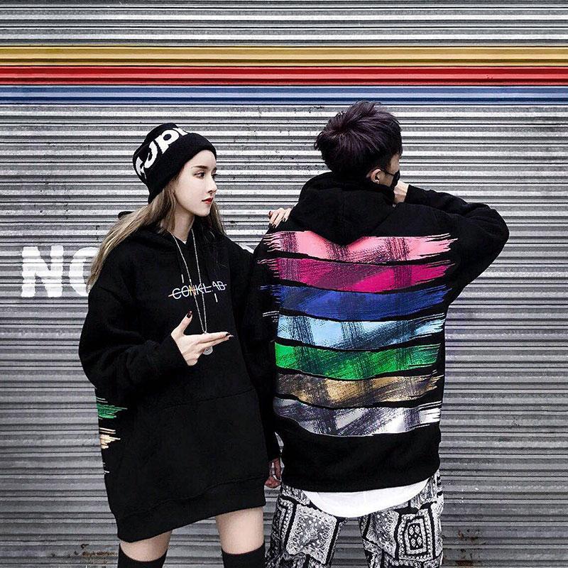 2018 радужные краски утолщение с капюшоном флис один обувь для мужчин и женщин Свободные bf ветер в стиле хип-хоп с принтом пару куртка с капюшо...
