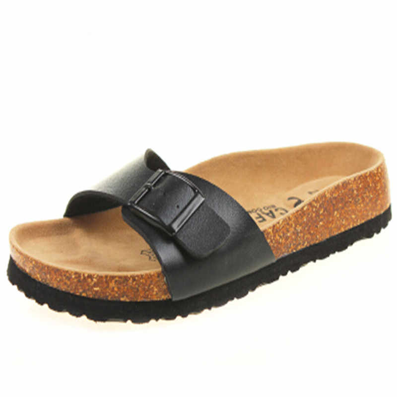 Men Sandals Cork Shoes Boys Slippers Summer Sandals Flip Flops Zapatos Hombre Sandalias Mix Color Plus Size 35-43 brown black