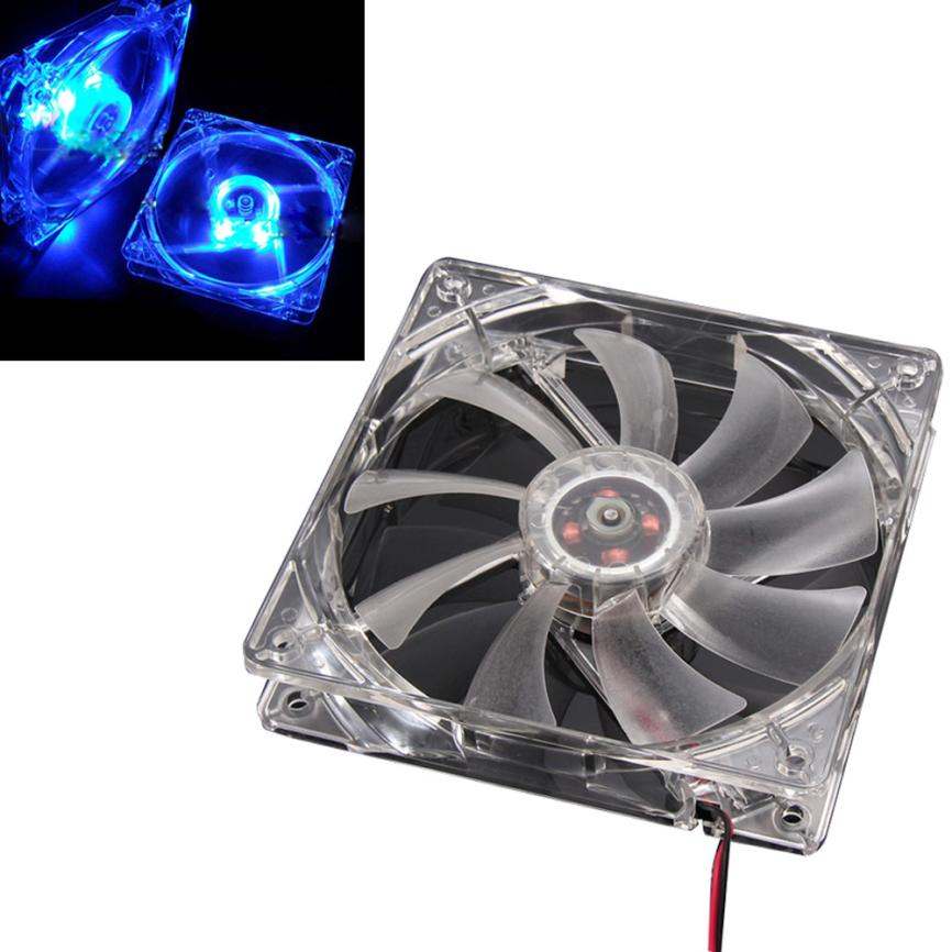 Hot Selling Blue LED Light Radiator Neon Clear 120mm PC Computer Case Cooling Fan Mod Nov29 hot sale binmer 120 x 120 x 25mm 4 pin computer fan red quad 4 led light neon clear 120mm pc computer case cooling fan mod