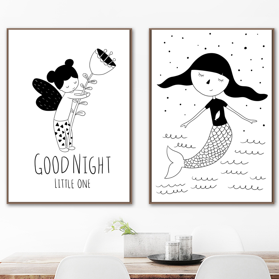 Fairy Mermaid Nordic Posters And Prints Wall Art Canvas Painting Black White Wall Picture Kids Baby Room Nursery Home Decor in Painting Calligraphy from Home Garden