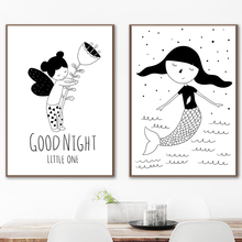 Fairy Mermaid Nordic Posters And Prints Wall Art Canvas Painting Black White Picture Kids Baby Room Nursery Home Decor