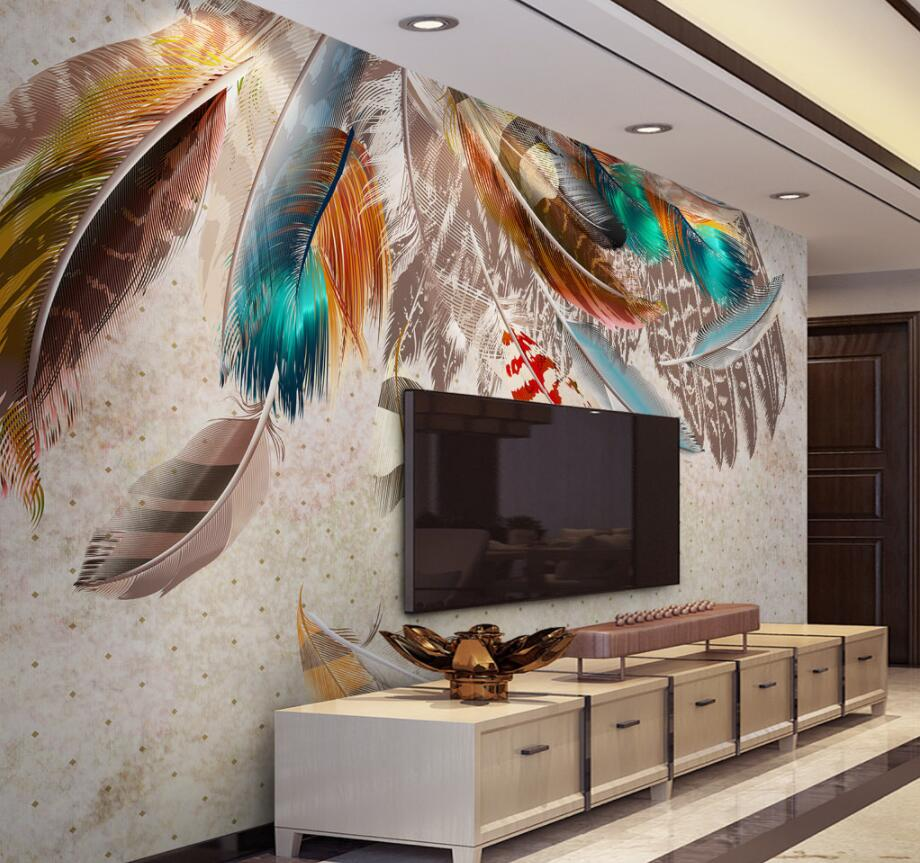 Us 885 41 Offbeibehang Custom Wallpaper Image Fashion Color Feather Texture Art Retro American Tv Backdrop Wall Mural Photo 3d Wallpaper In